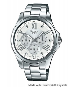 Ceas dama Casio Sheen SHE-3806D-7AUER MADE WITH SWAROVSKI CRYSTALS (SHE-3806D-7AUER) oferit de magazinul Japora