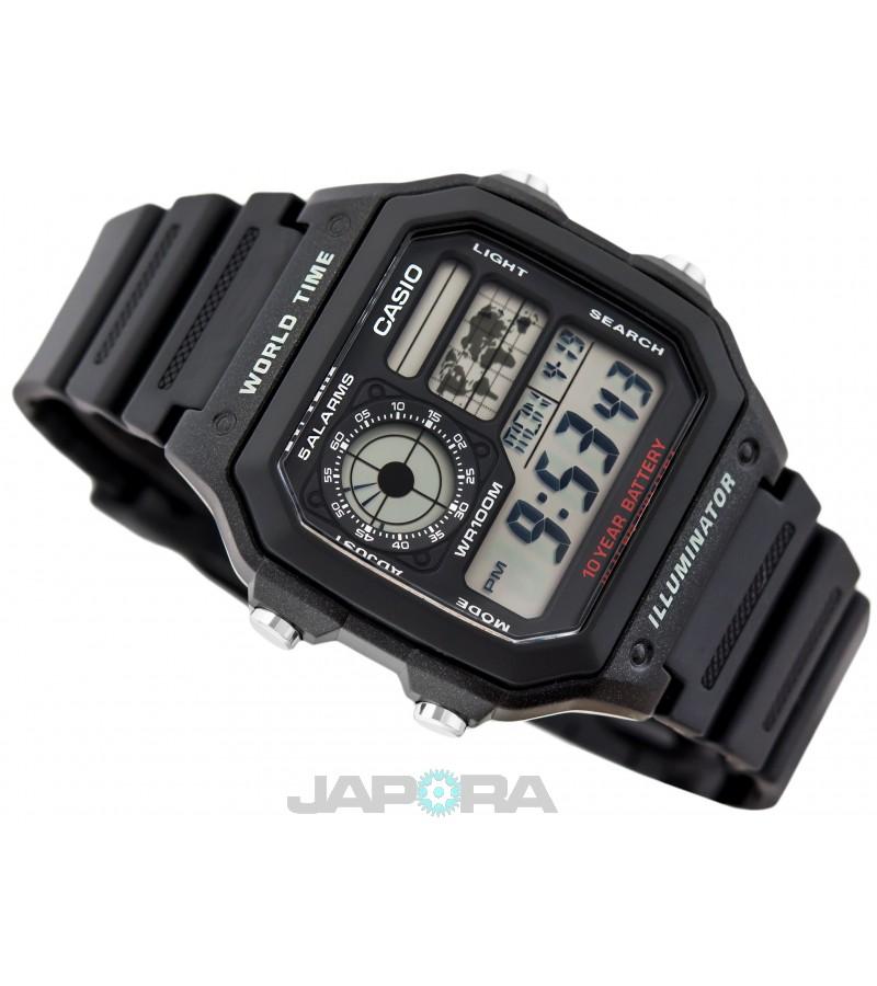 Ceas barbatesc Casio Standard AE-1200WH-1A Digital 10-Year Battery Life (AE-1200WH-1AVEF) oferit de magazinul Japora