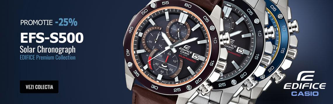 Vezi Colectia de ceasuri cu alimentare solara Casio Edifice EFS-S500 Solar Chronograph